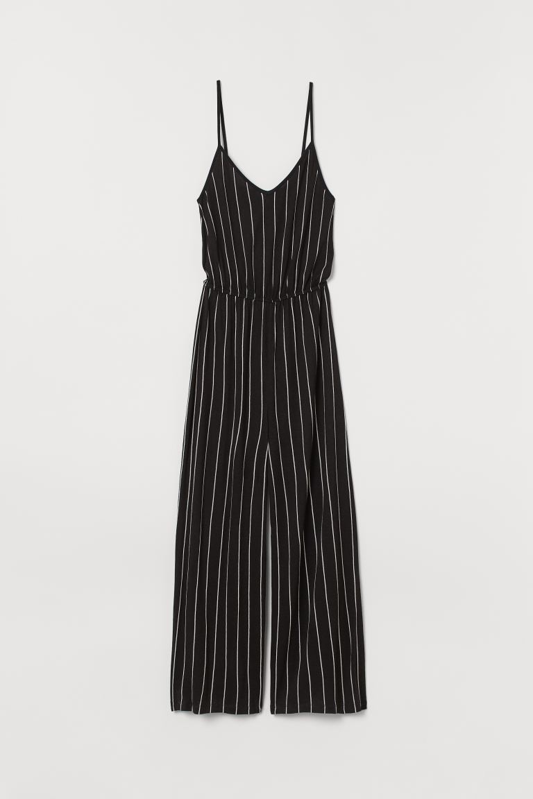 Jumpsuit i trikot - Sort/Hvit stripet - DAME | H&M NO