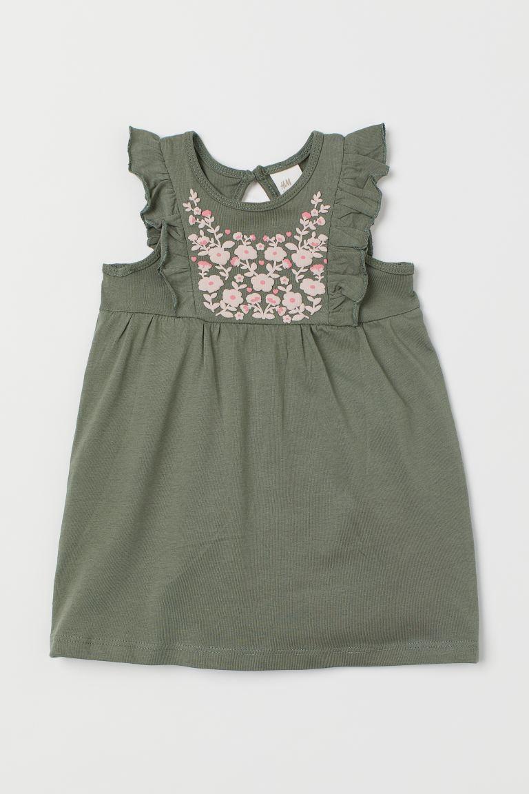 Flounce-trimmed cotton dress - Khaki green/Flowers - Kids | H&M GB