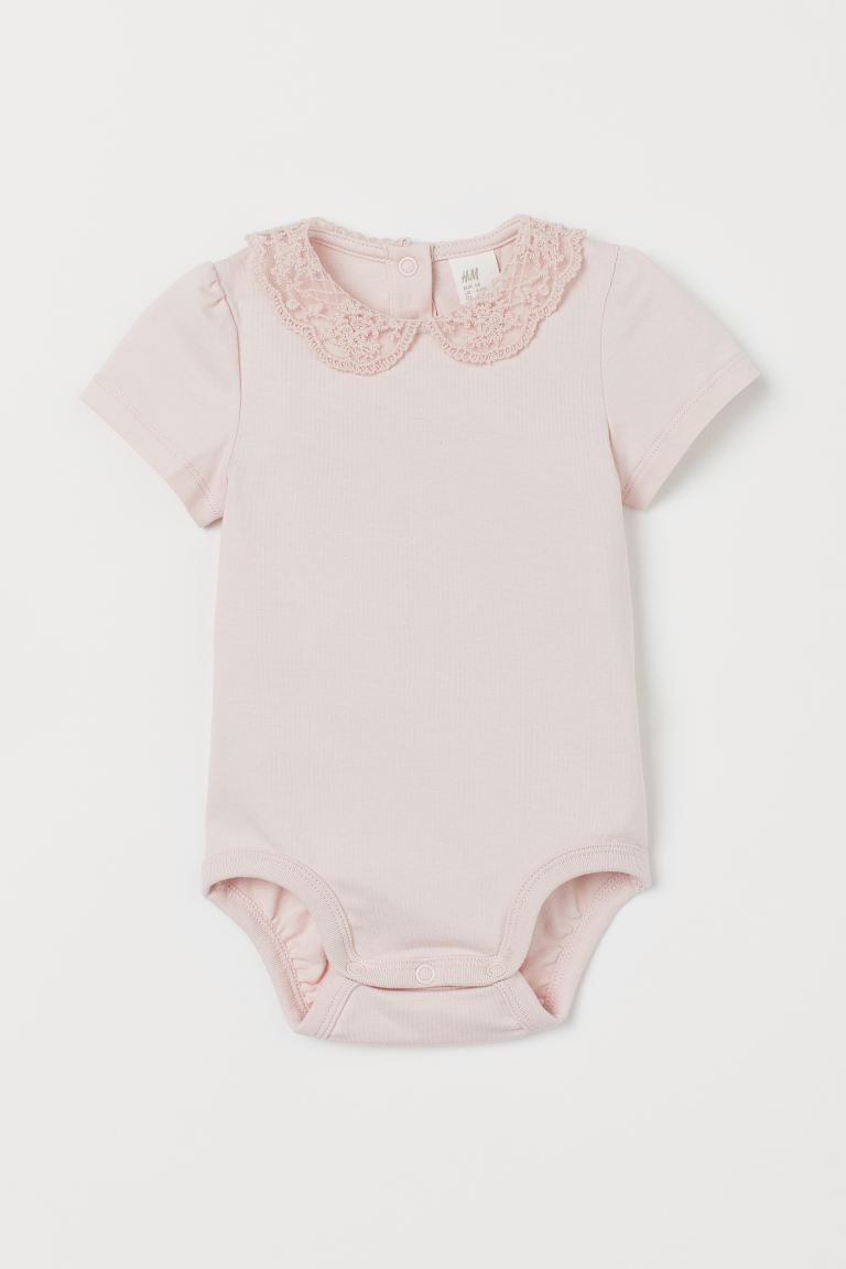 Body med blondekrage - Lys rosa - BARN | H&M NO