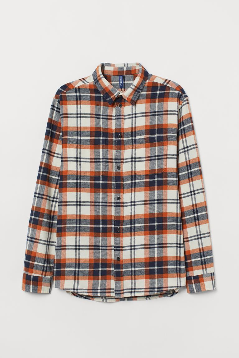 Cotton flannel shirt - Natural white/Orange - Men | H&M GB