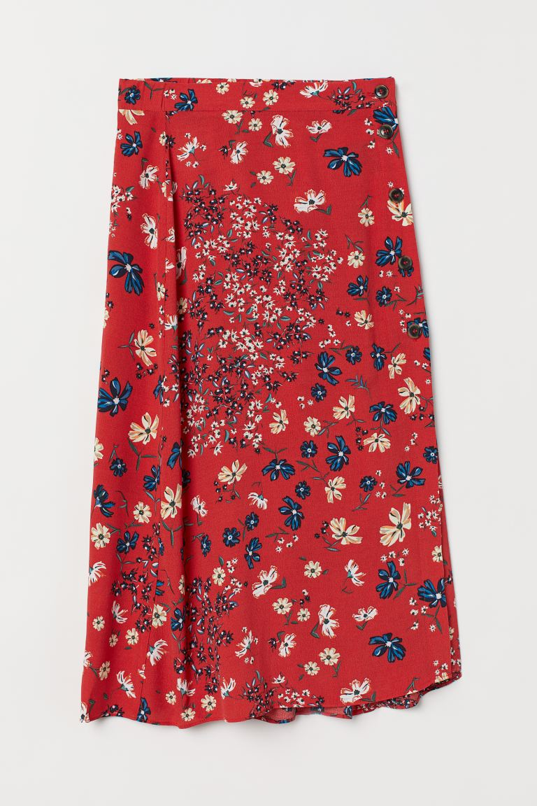 Calf-length skirt - Red/Floral - Ladies | H&M GB