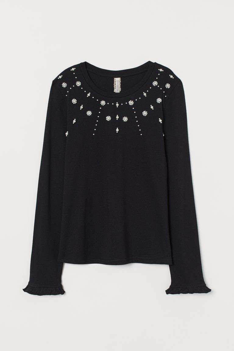 Beaded Jersey Top - Black/beads - Ladies | H&M US