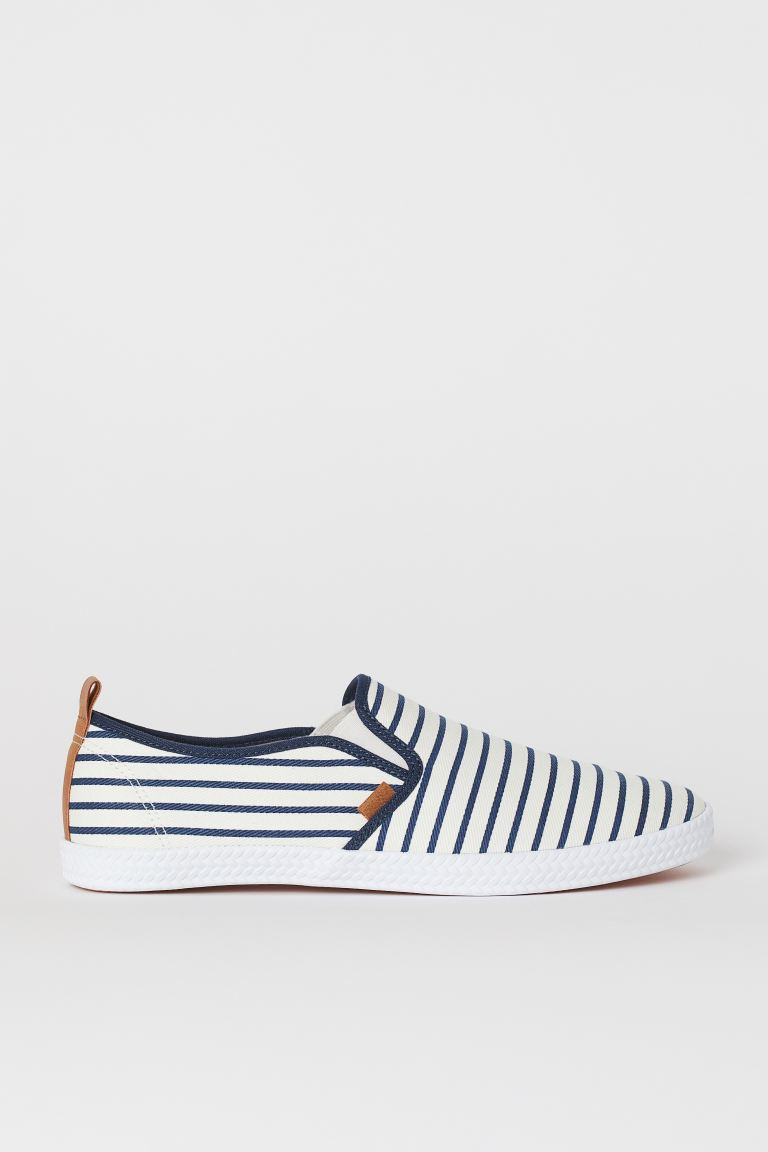 Sneakers slip-on - Bianco/blu righe - UOMO | H&M IT