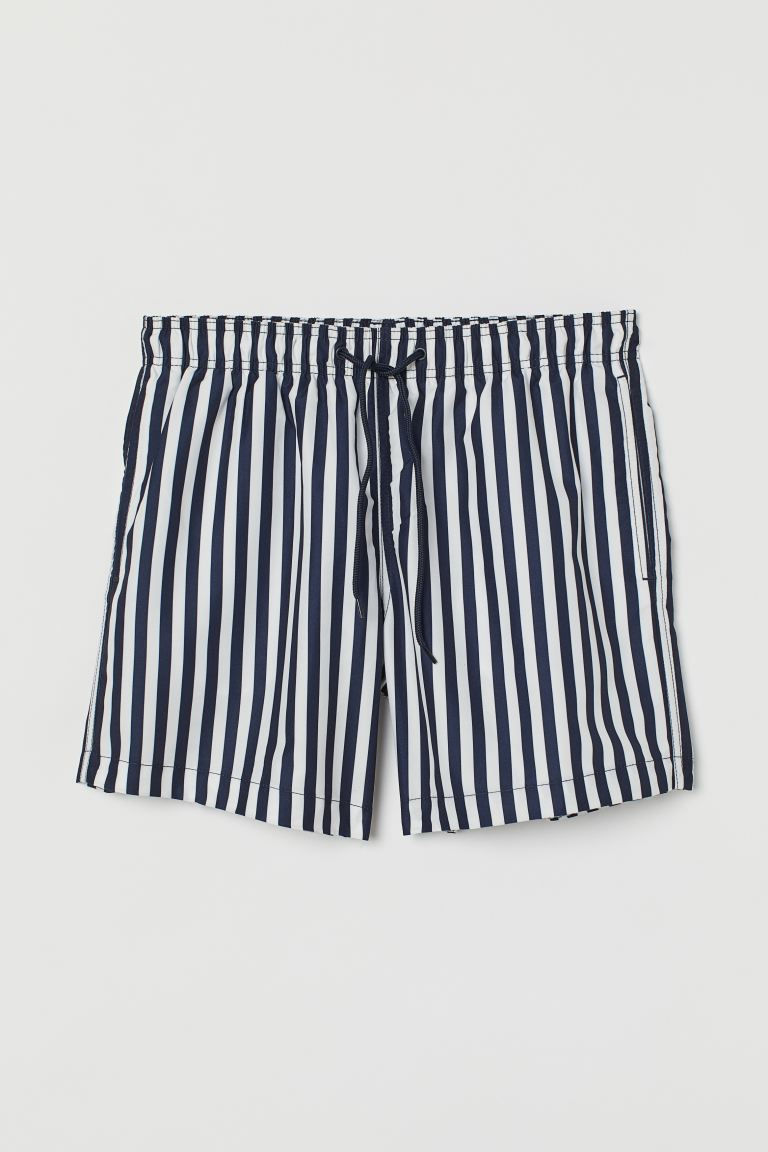 Printed swim shorts - Dark blue/White striped - Men | H&M