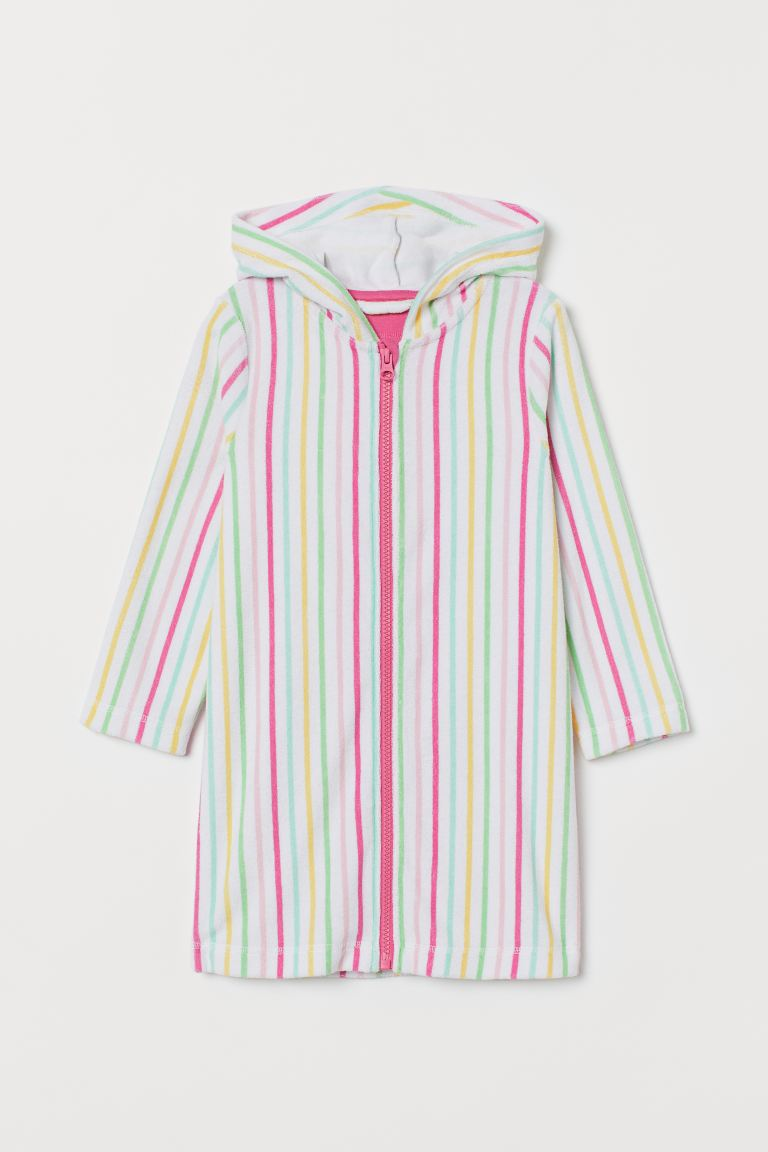 Hooded dressing gown - White/Multicoloured stripes - Kids | H&M