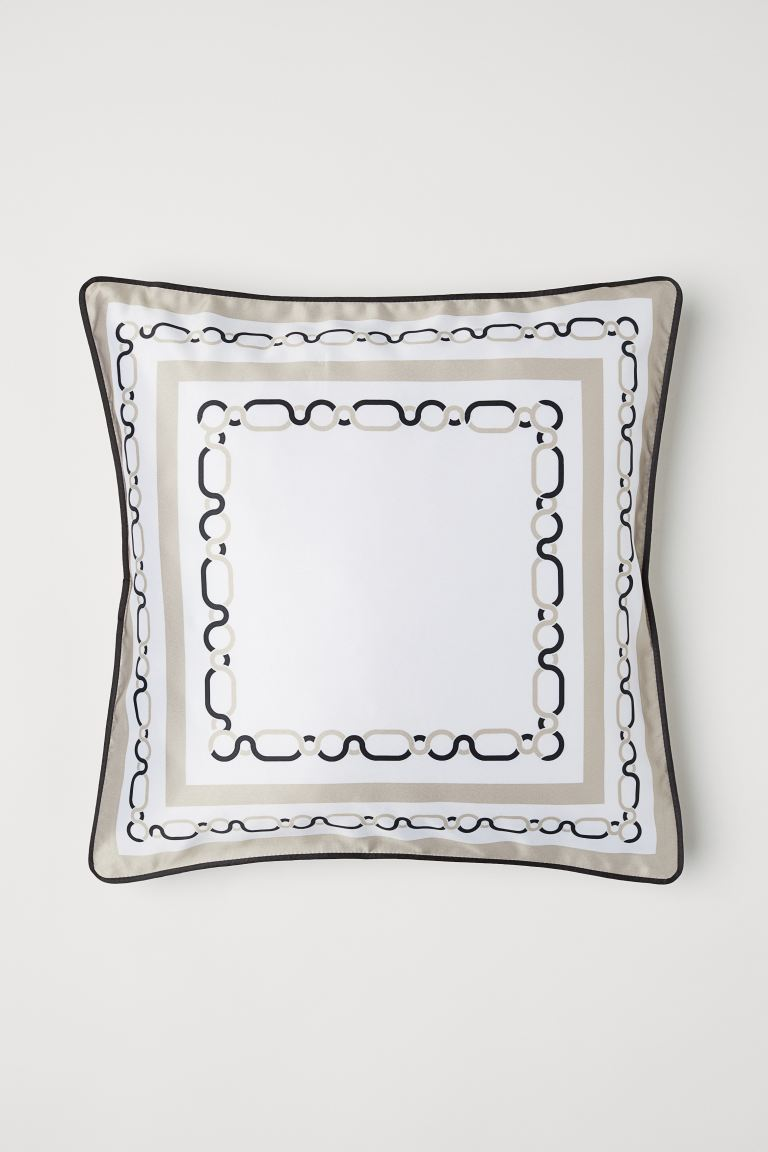 Satin cushion cover - White/Beige - Home All | H&M GB