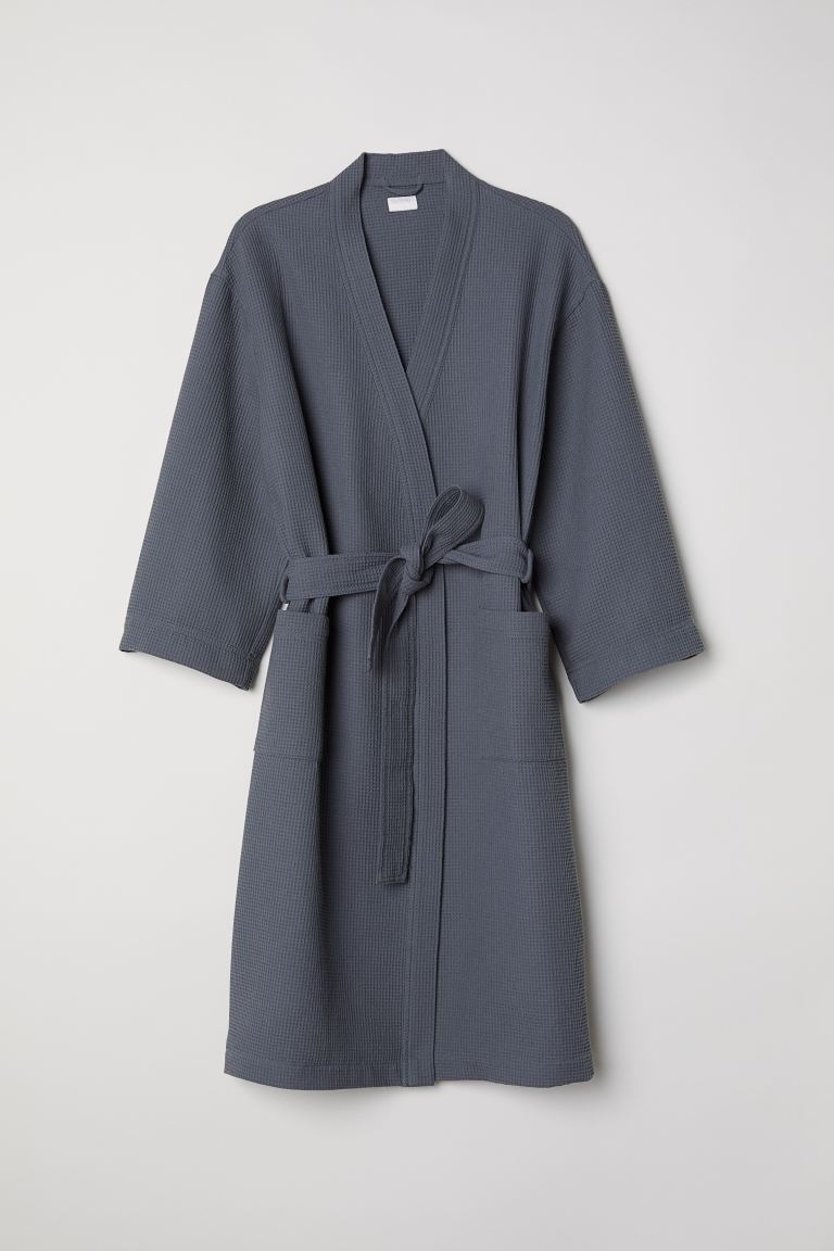 Waffled dressing gown - Dark grey - Home All | H&M GB
