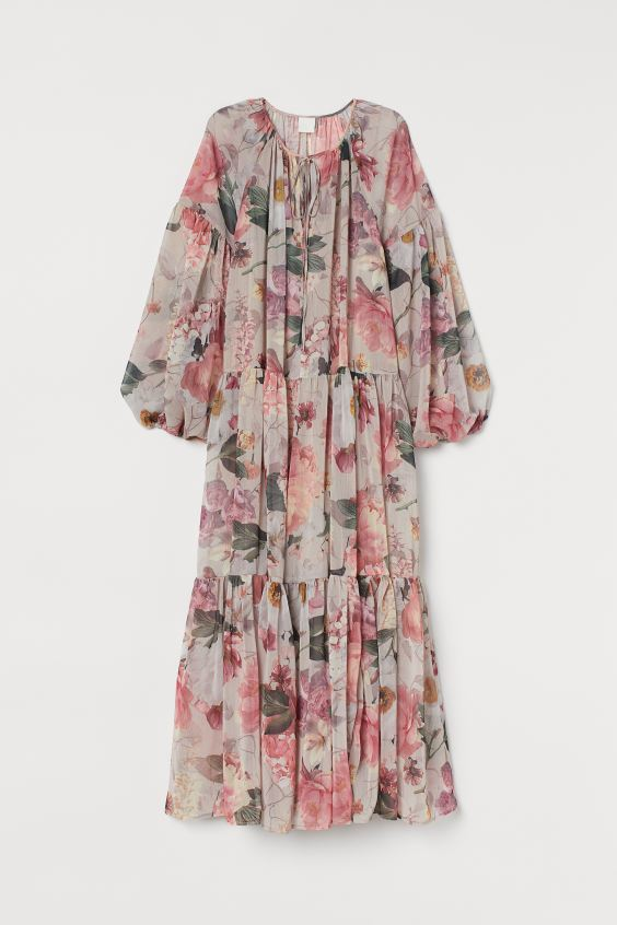 Chiffon Dress - Powder pink/floral - Ladies | H&M US 4