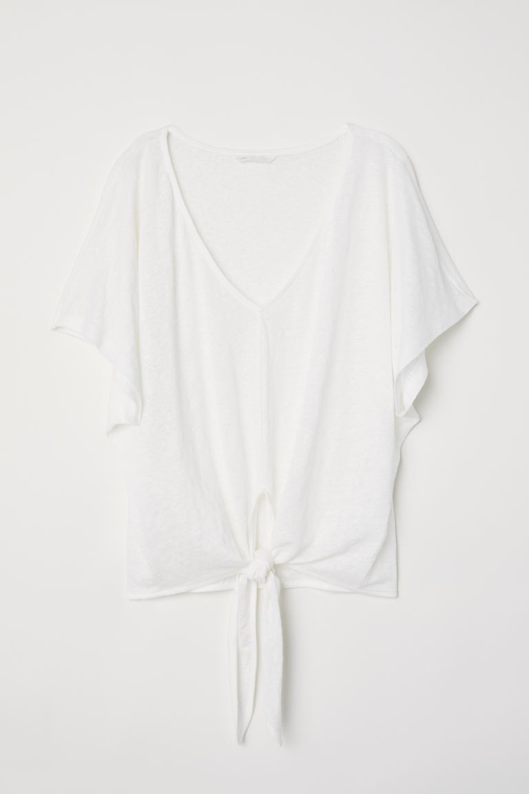 Knot-detail linen top - Natural white - Ladies | H&M GB