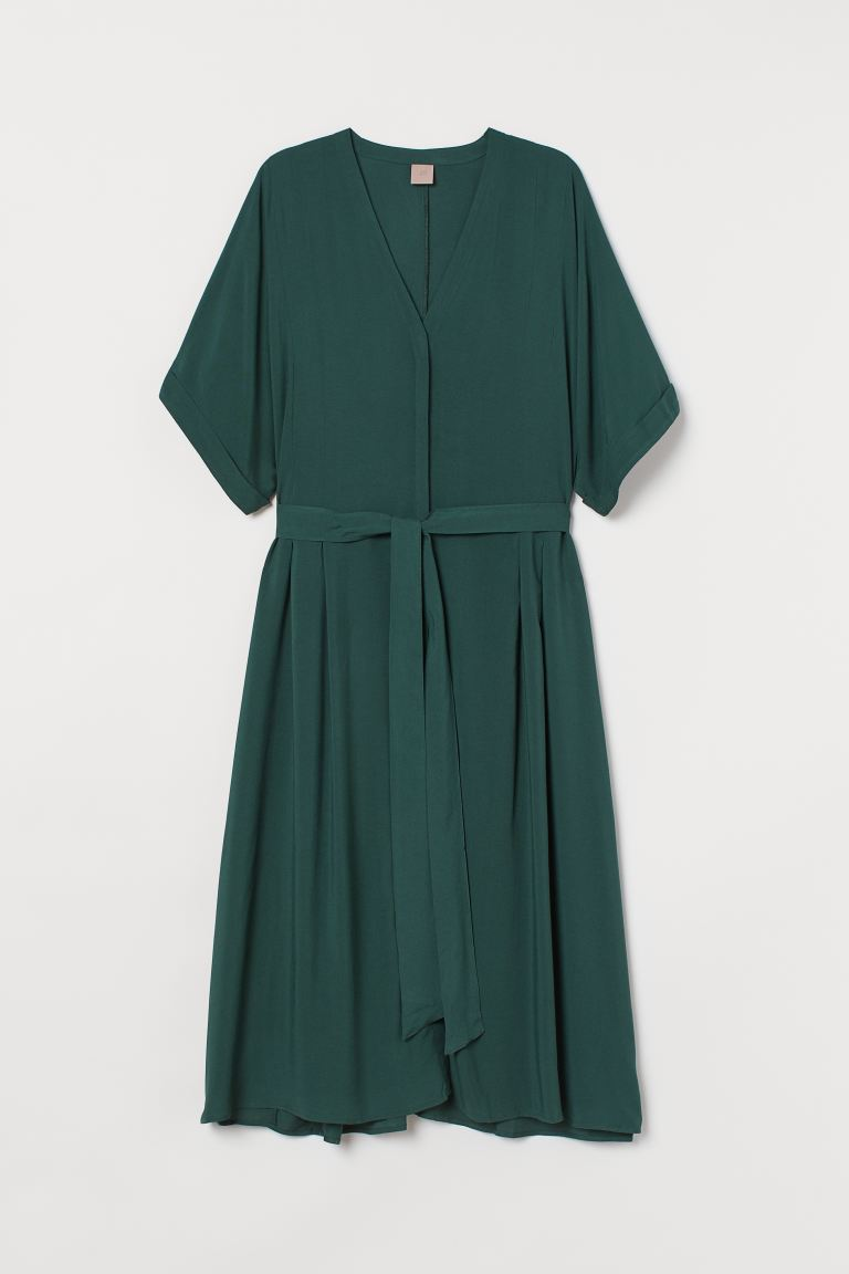 H&M+ Dress with Tie Belt - Dark green - Ladies | H&M US