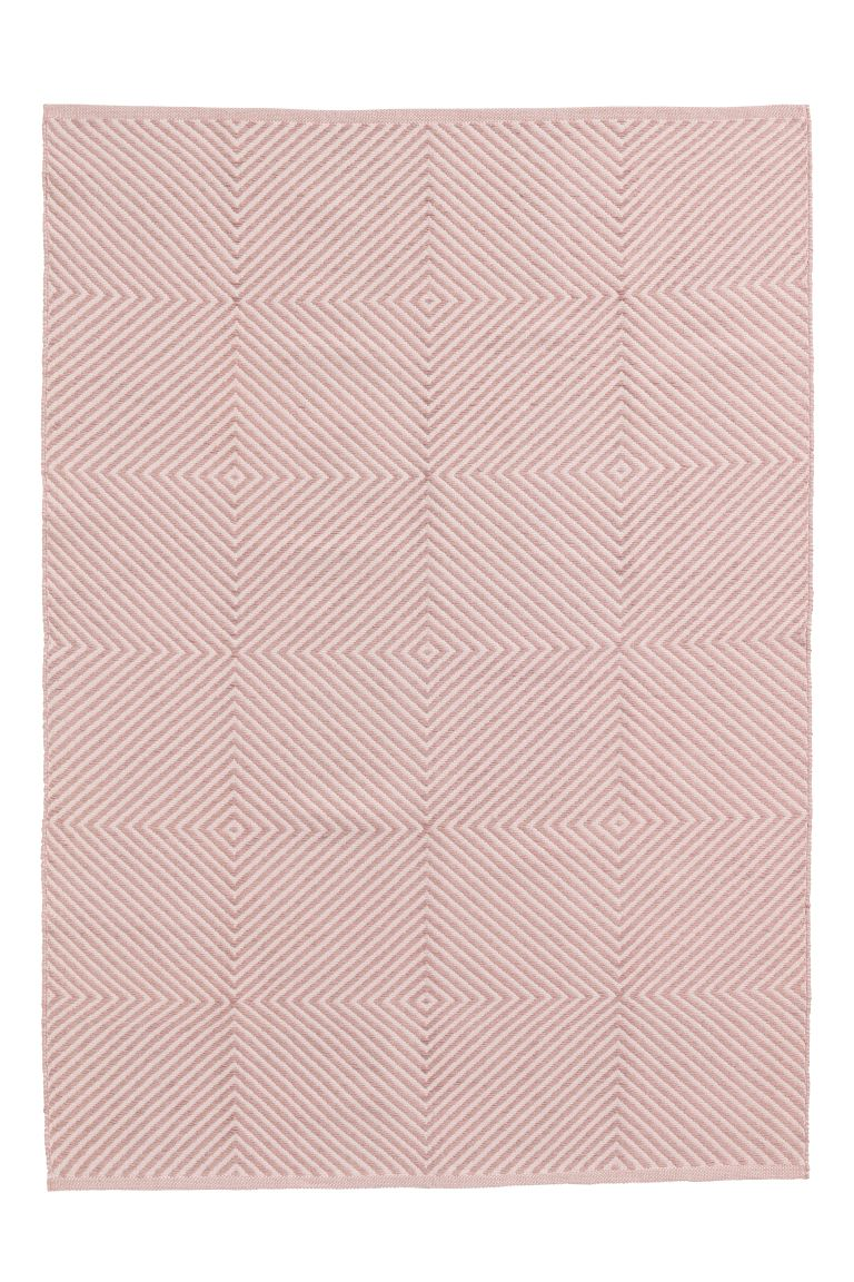 Jacquard-weave Cotton Rug - Powder pink/patterned - Home All | H&M US