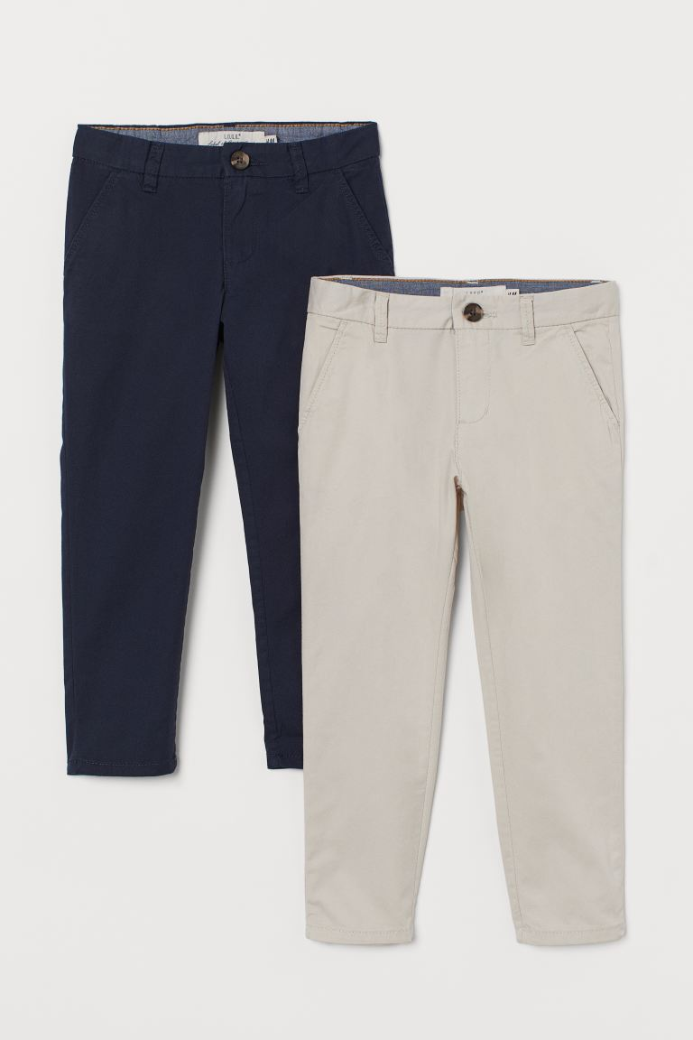 2er-Pack Baumwollchinos - Marineblau/Hellbeige - Kids | H&M AT
