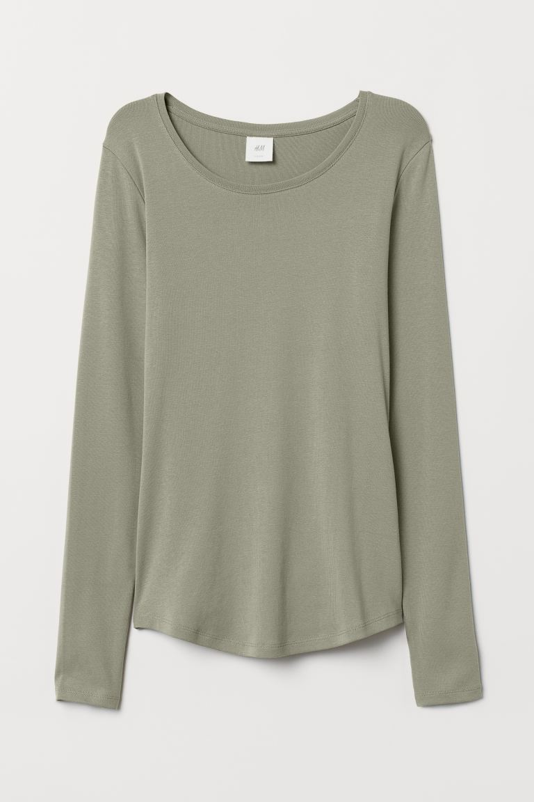 Long-sleeved jersey top - Khaki green - Ladies | H&M GB