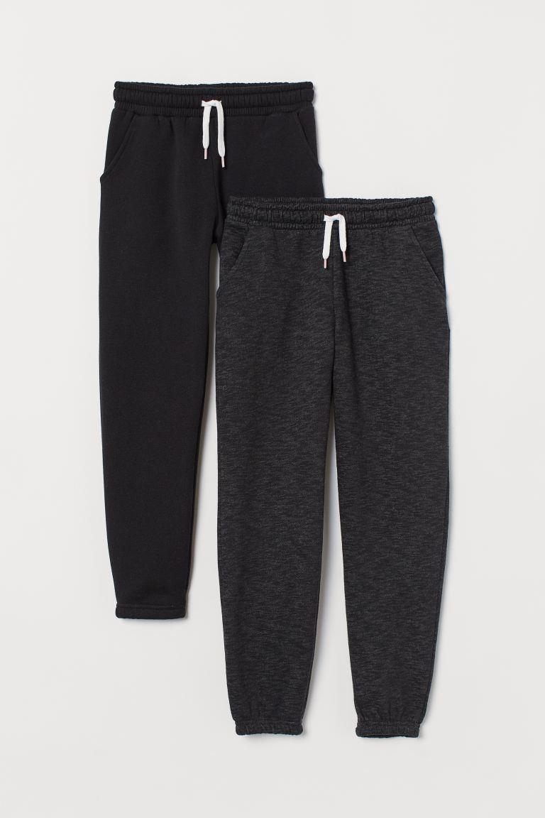 2-pack sweatpants - Black/Dark grey - Kids | H&M GB