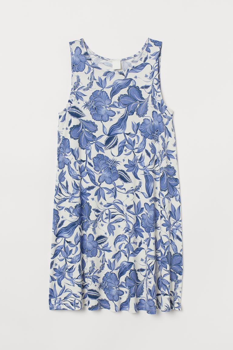 A-line dress - White/Blue floral - Ladies | H&M