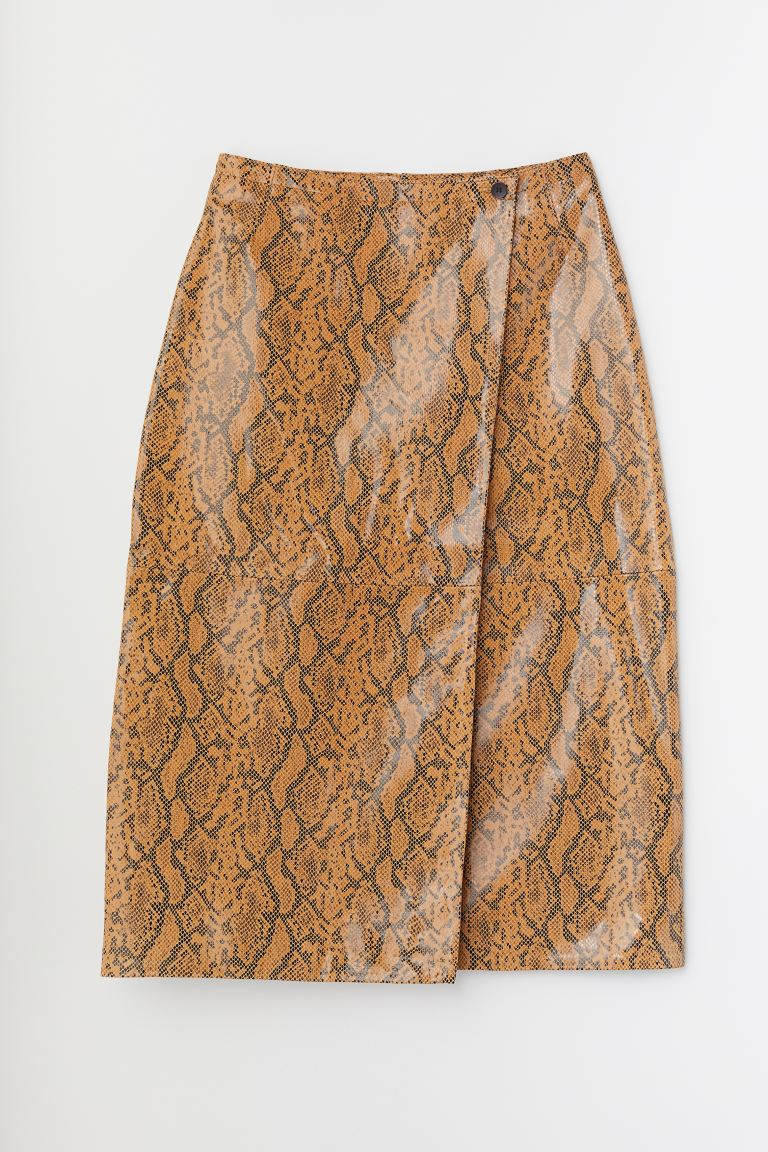 Leather skirt - Light brown/Snakeskin pattern - Ladies | H&M GB