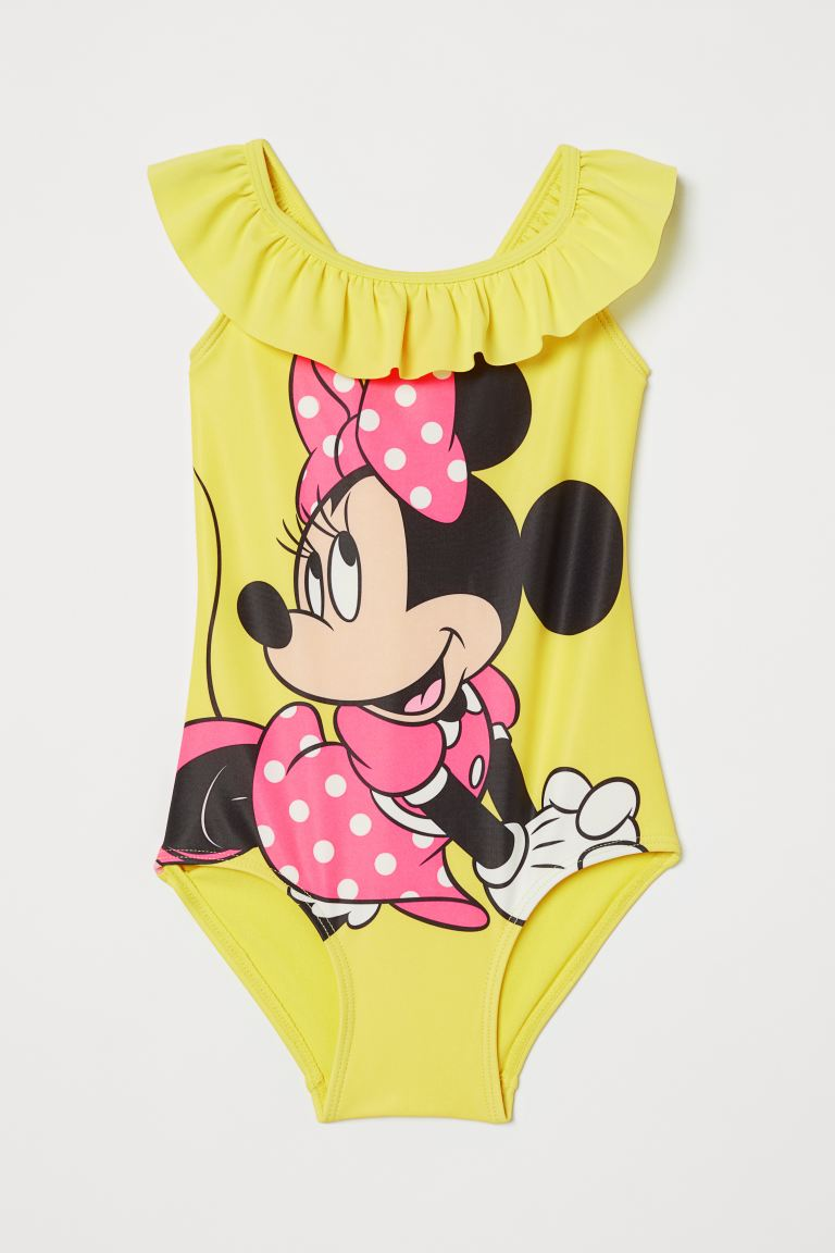 Flounce-trimmed swimsuit - Neon yellow/Minnie Mouse -  | H&M GB