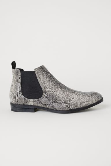 Chelsea boots - Dark grey/Snakeskin-patterned - Men | H&M