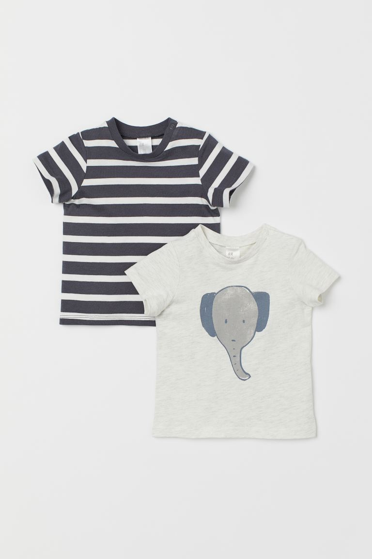 2-pack jersey T-shirts - Dark grey/Elephant - Kids | H&M IN