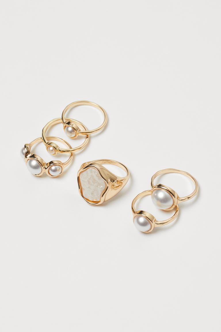 6-pack rings - Gold-coloured/White - Ladies | H&M IE