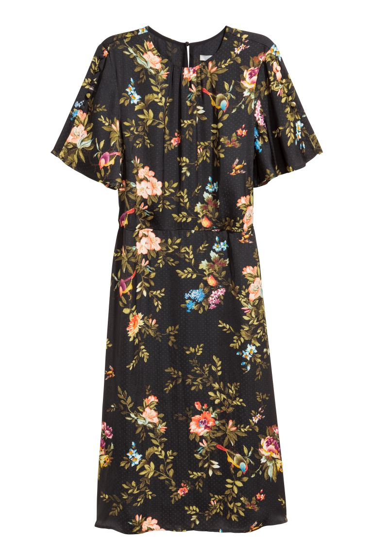 Short-sleeved dress - Black/Floral - Ladies | H&M IE