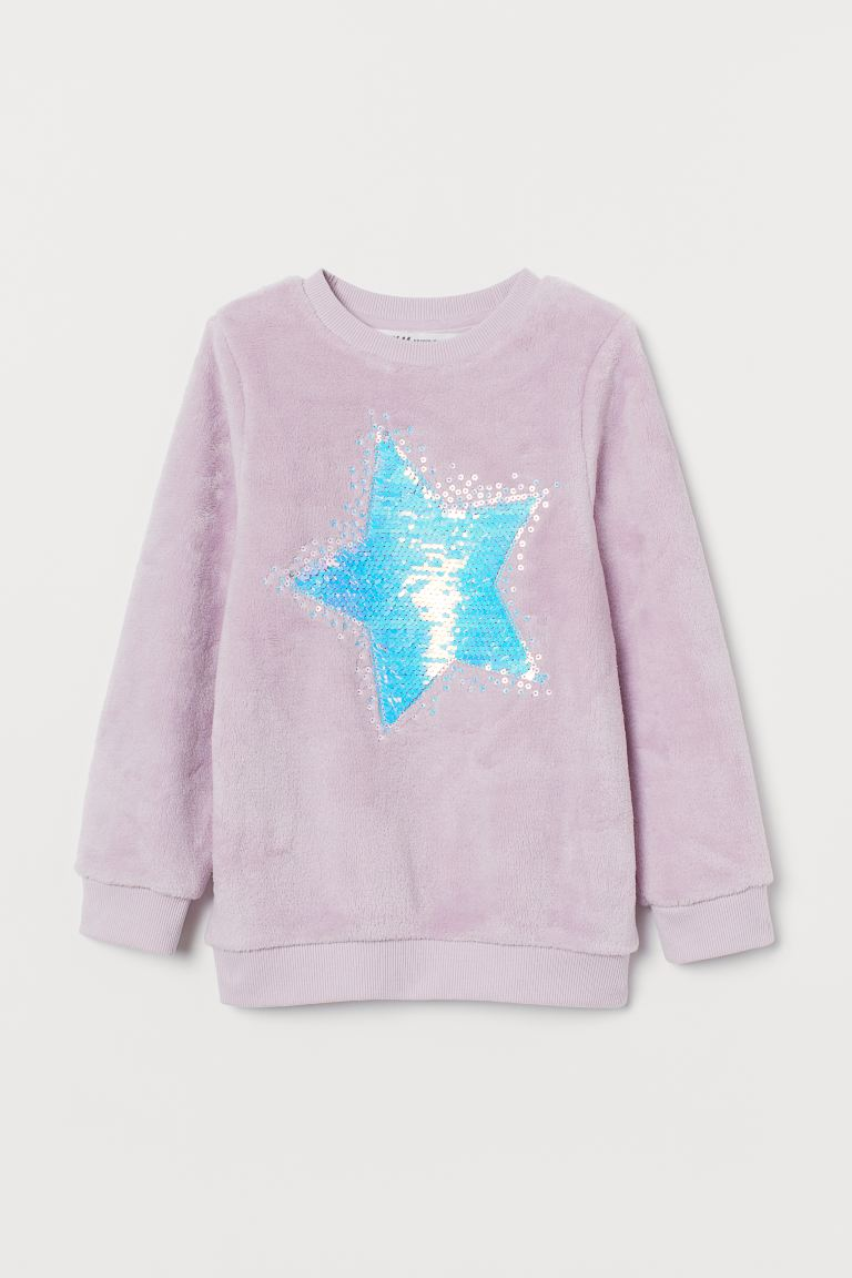 Top with sequins - Light purple/Star - Kids | H&M GB