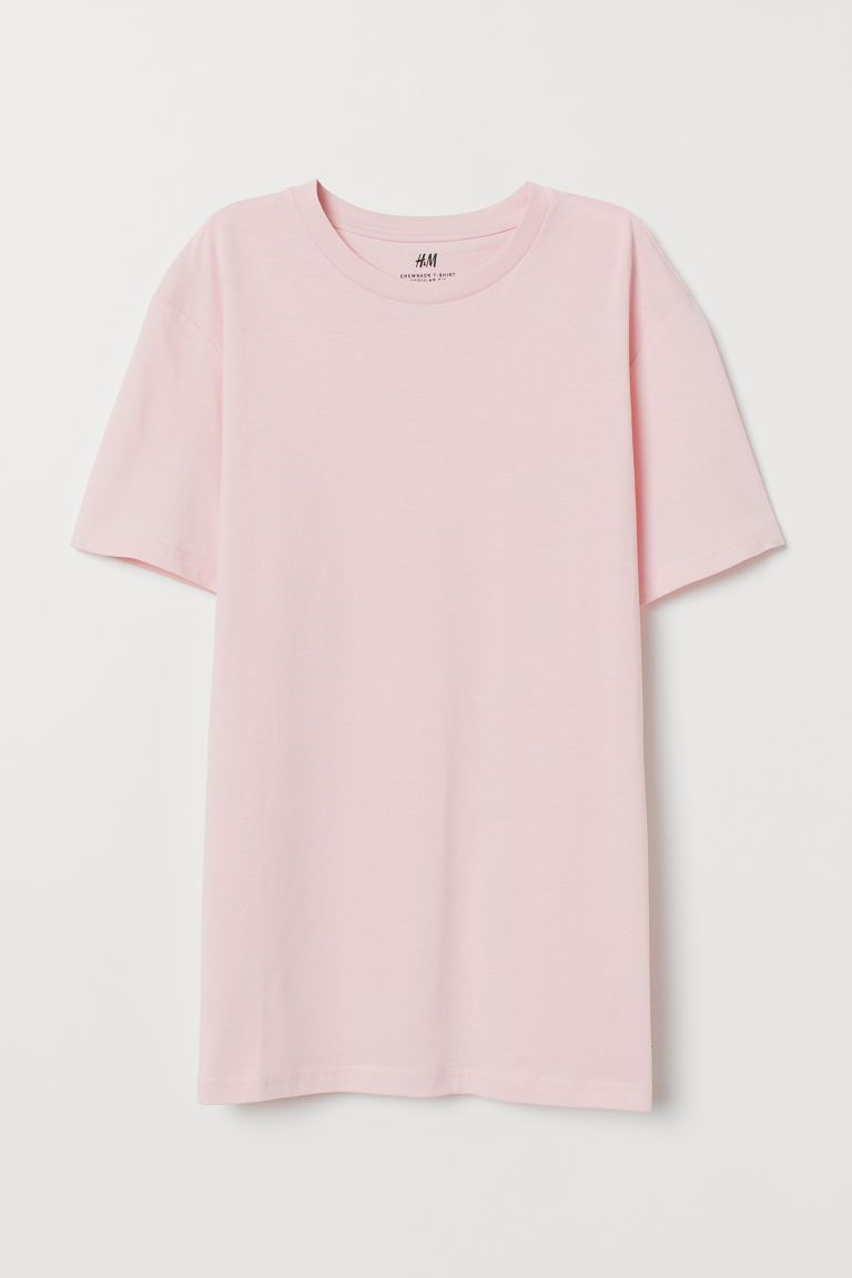 Regular Fit Crew-neck T-shirt - Light pink - Men | H&M US