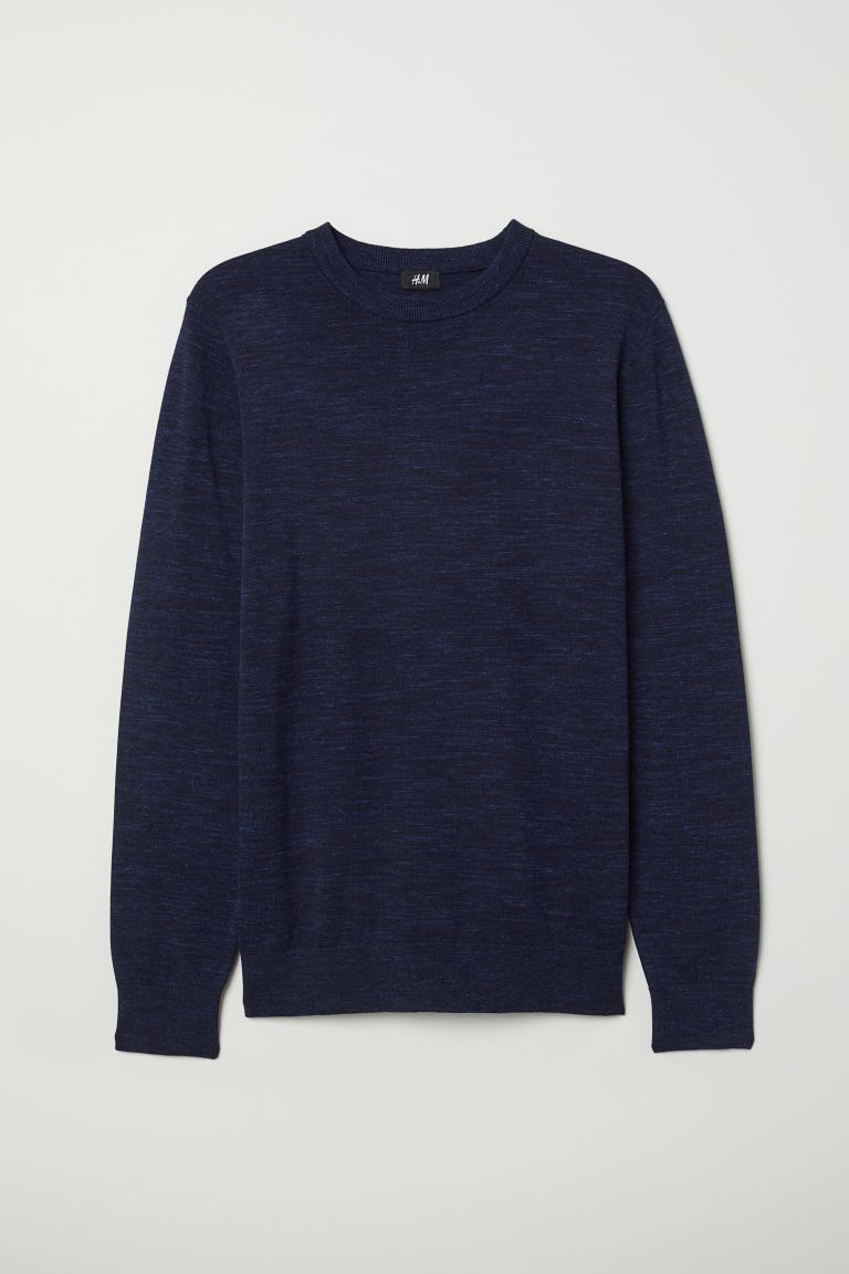 Fine-knit Sweater - Dark blue melange - Men | H&M US