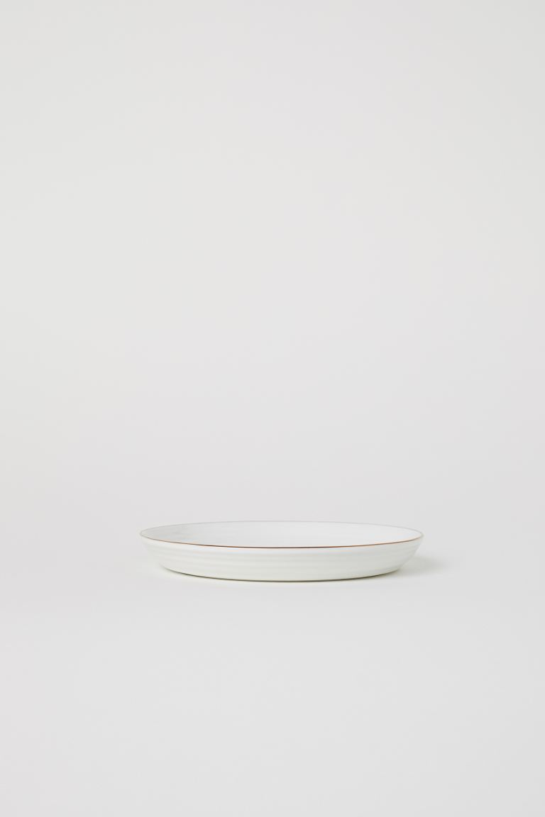 Textured porcelain plate - White - Home All  H&M GB
