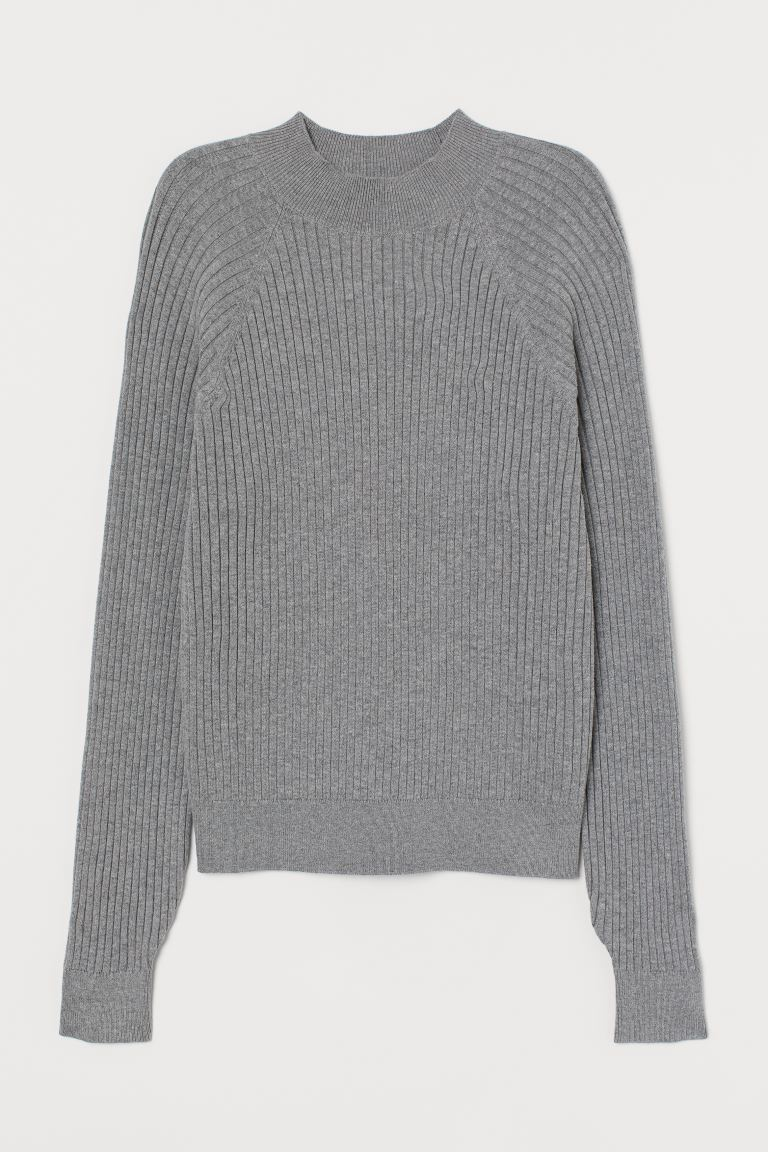 Ribbed turtleneck jumper - Grey marl - Ladies | H&M GB