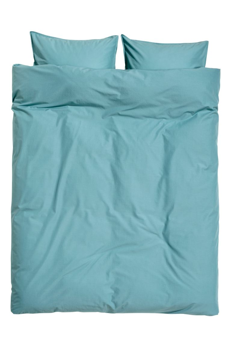Washed Cotton Duvet Cover Set - Turquoise - Home All | H&M US