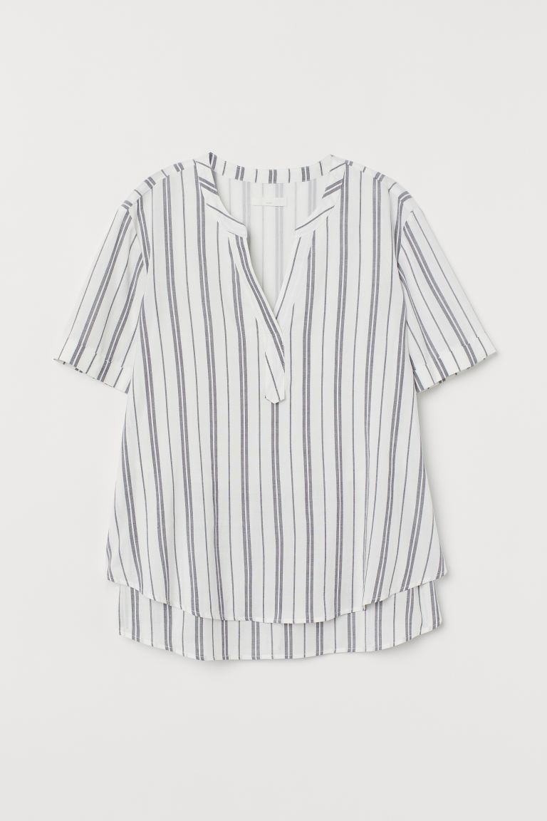 MAMA Nursing blouse - White/Grey striped - Ladies | H&M