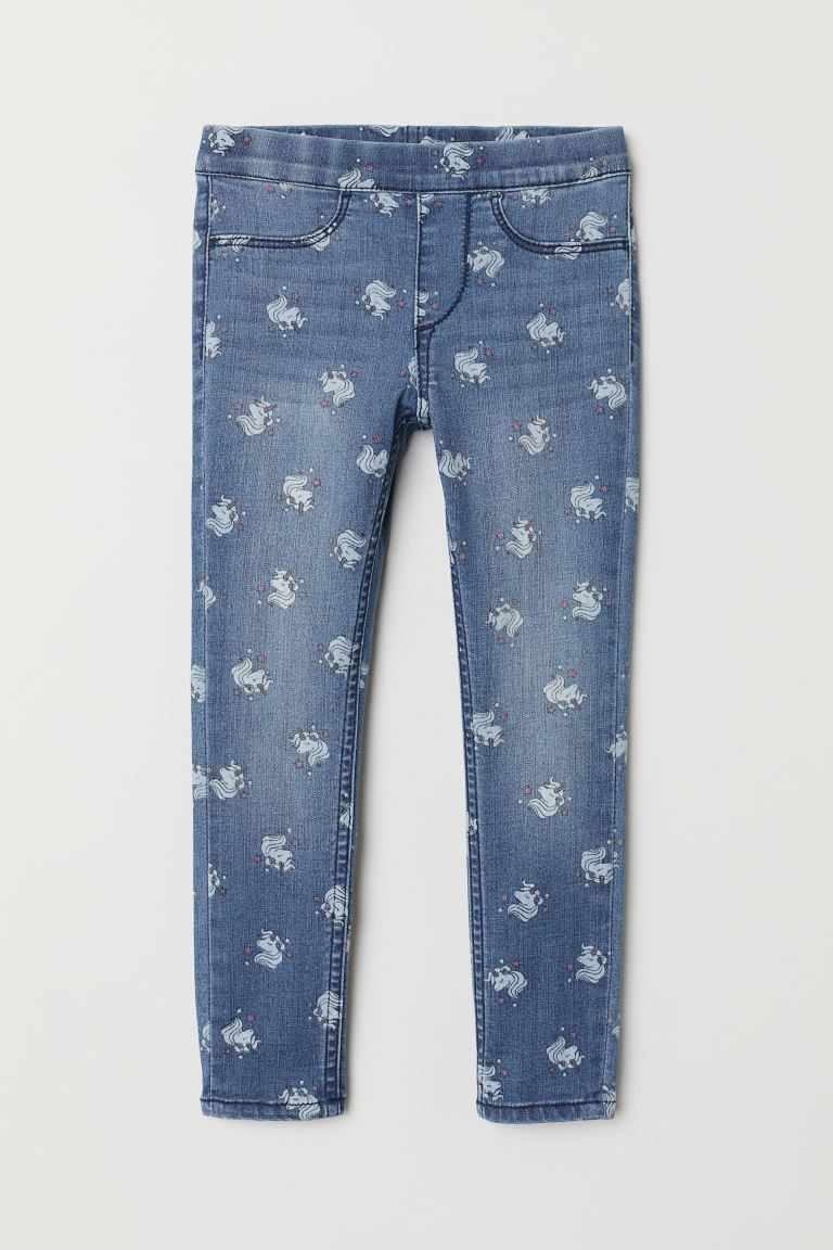 Patterned denim leggings - Denim blue/Unicorns - Kids | H&M IE