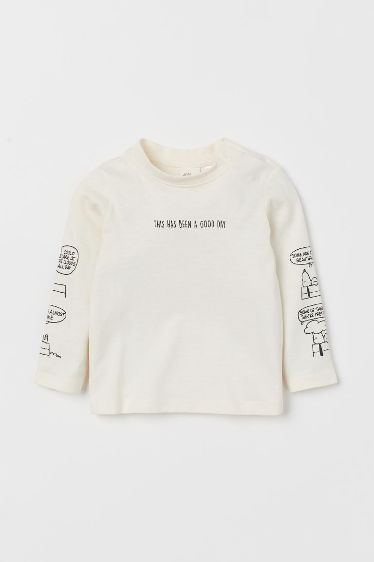Printed jersey top - Natural white/Snoopy - Kids | H&M GB