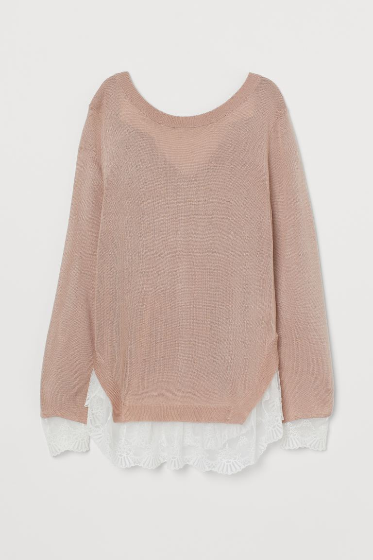 Lace-trimmed jumper - Powder pink - Ladies | H&M IE
