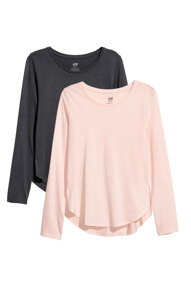2-pack tops - Dark grey/Natural white - Kids | H&M IE