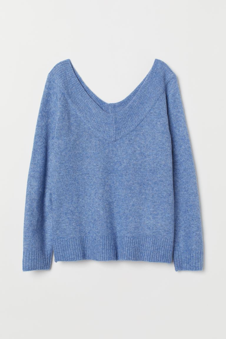 V-neck jumper - Blue marl - Ladies | H&M GB