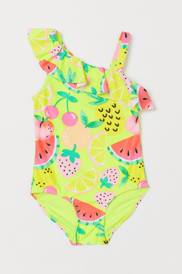 Swimsuit with a flounce - Neon yellow/Fruit - Kids | H&M