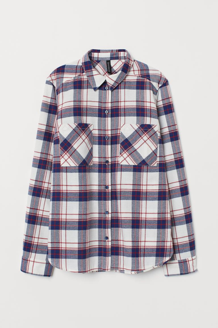 Cotton Shirt - Blue/red plaid - Ladies | H&M US