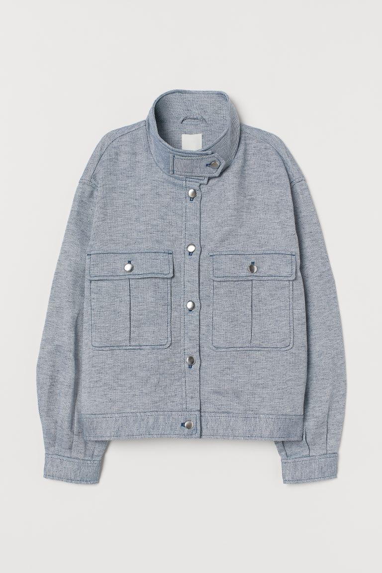 Shirt Jacket - Blue/white - Ladies | H&M US