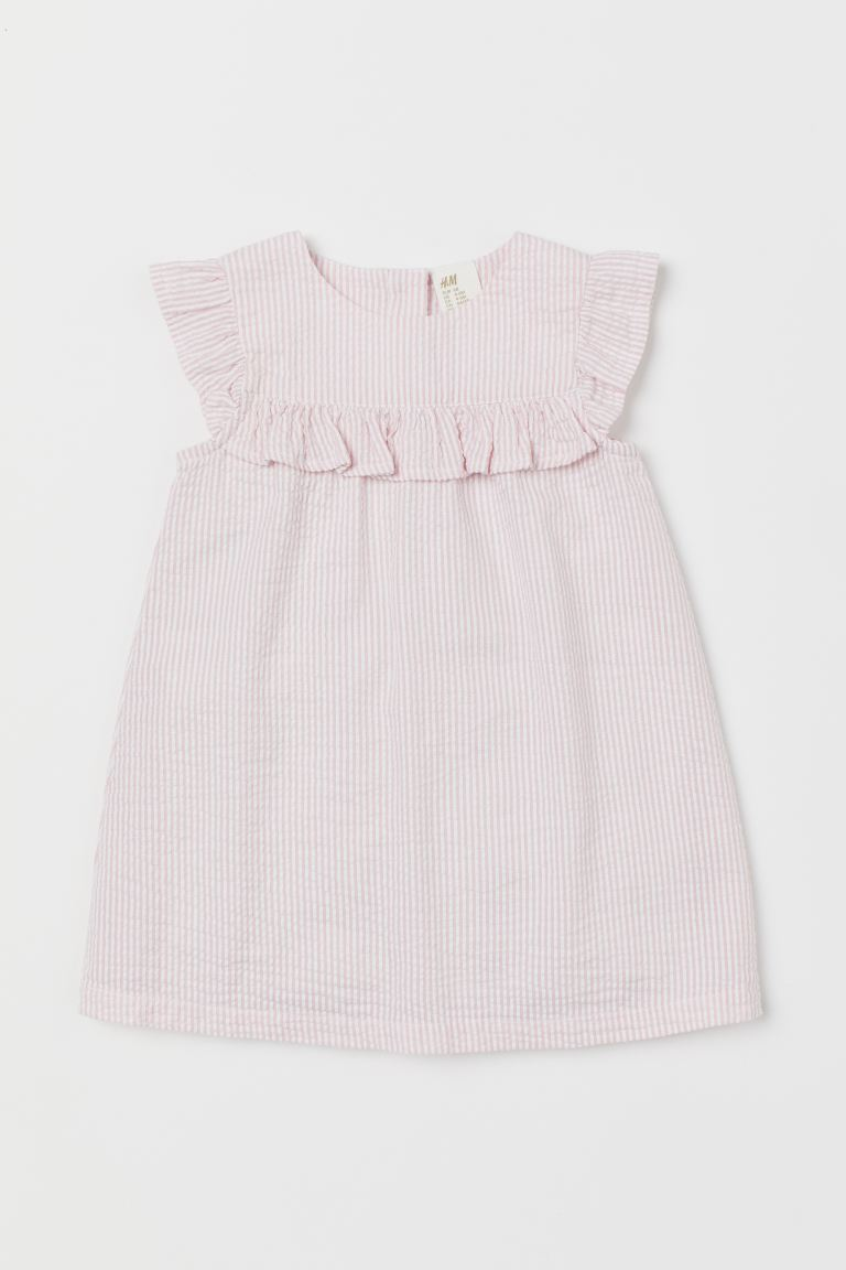 Frilled dress - Light pink/White striped - Kids | H&M