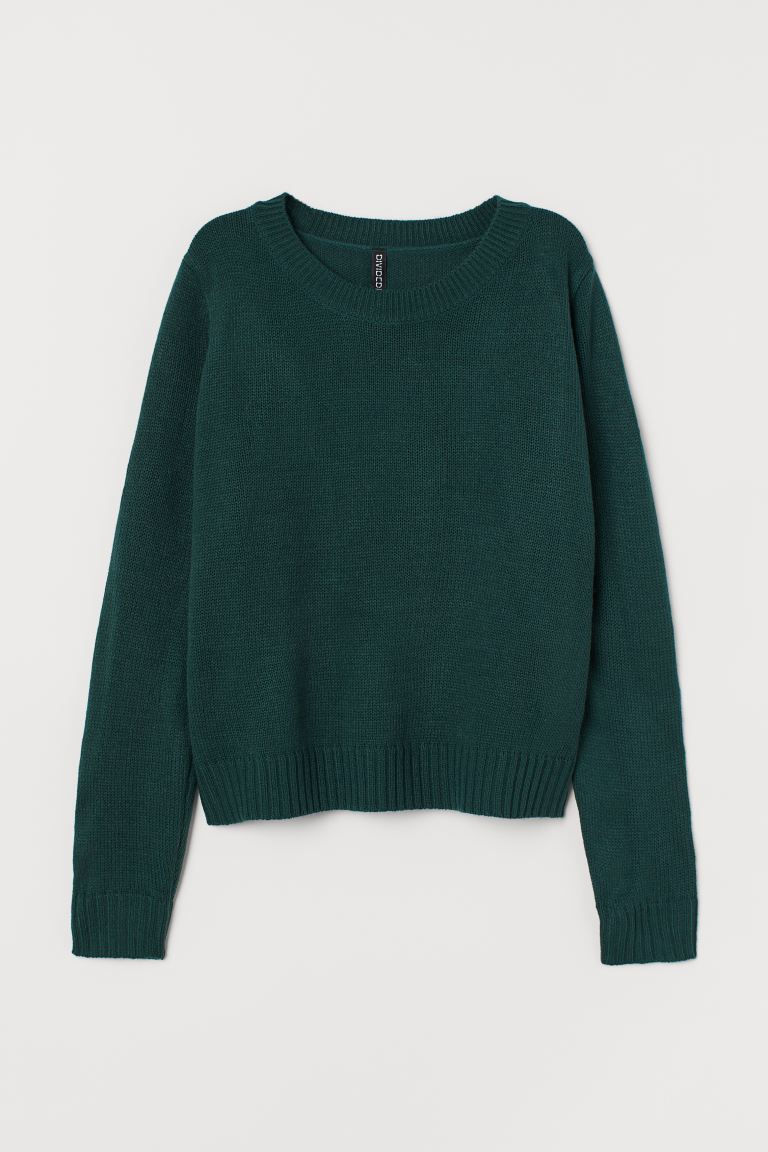Knitted jumper - Dark green - Ladies | H&M GB