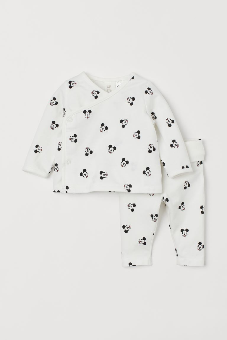 2-piece set - White/Mickey Mouse - Kids | H&M IN