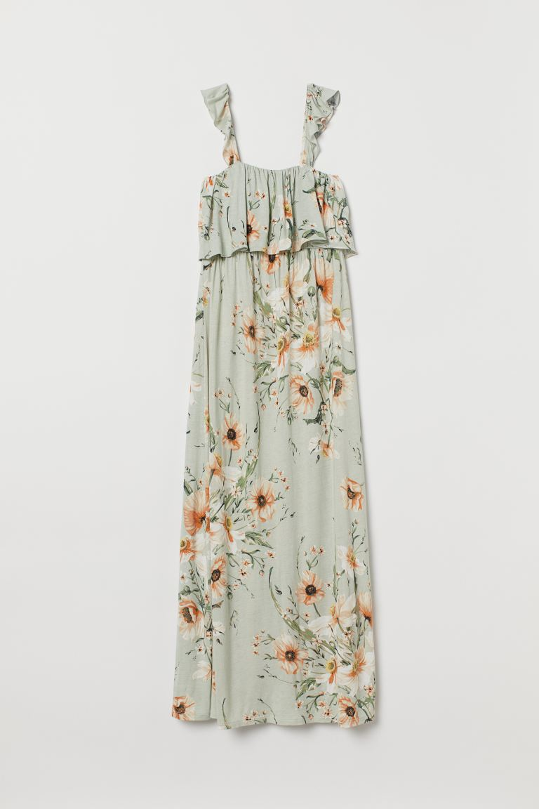 MAMA Long jersey dress - Light green/Floral - Ladies | H&M GB