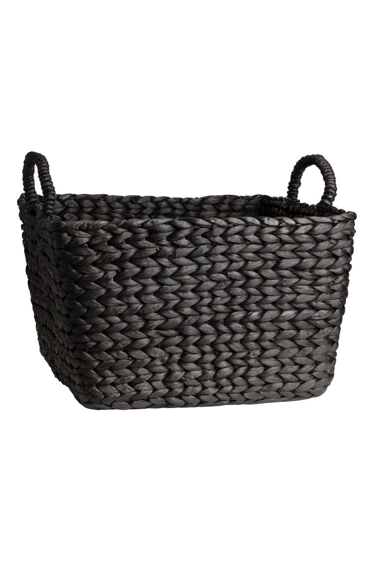 Grand panier en jacinthe d'eau - Gris anthracite - HOME | H&M BE