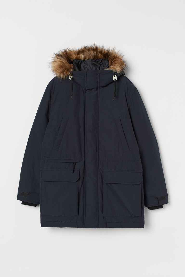Padded parka with a hood - Dark blue - Men | H&M IE