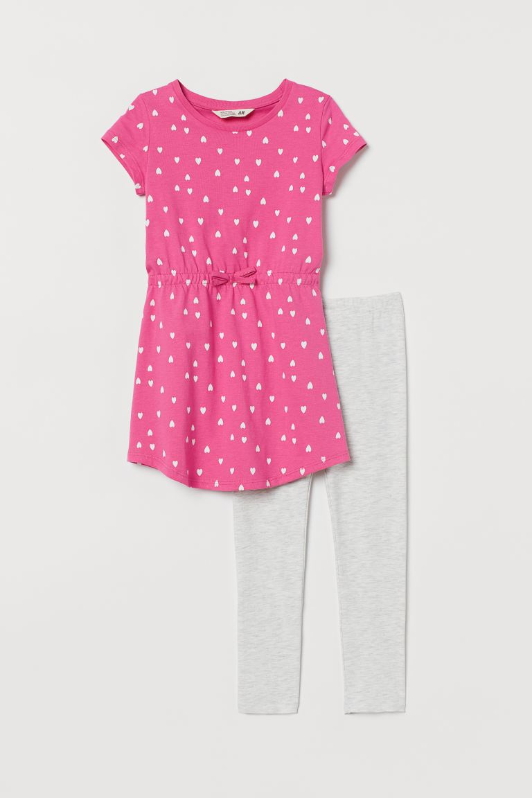 Dress and Leggings - Pink/hearts - Kids | H&M CA