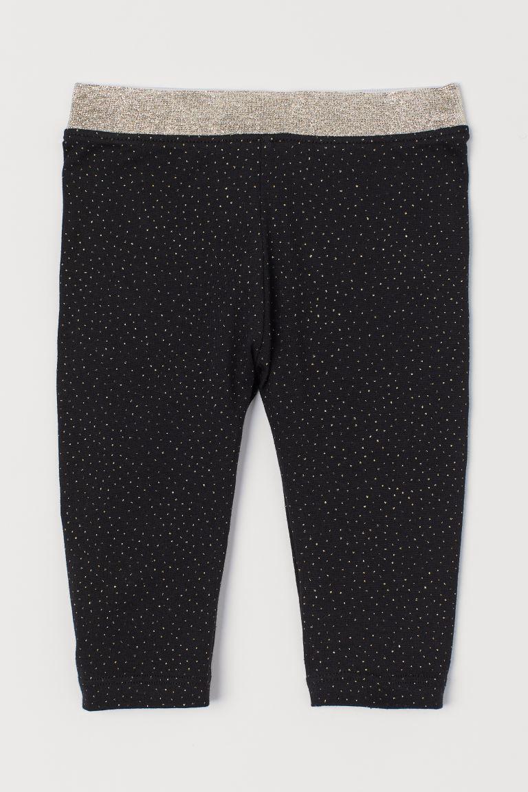 Glittery leggings - Black -  | H&M GB
