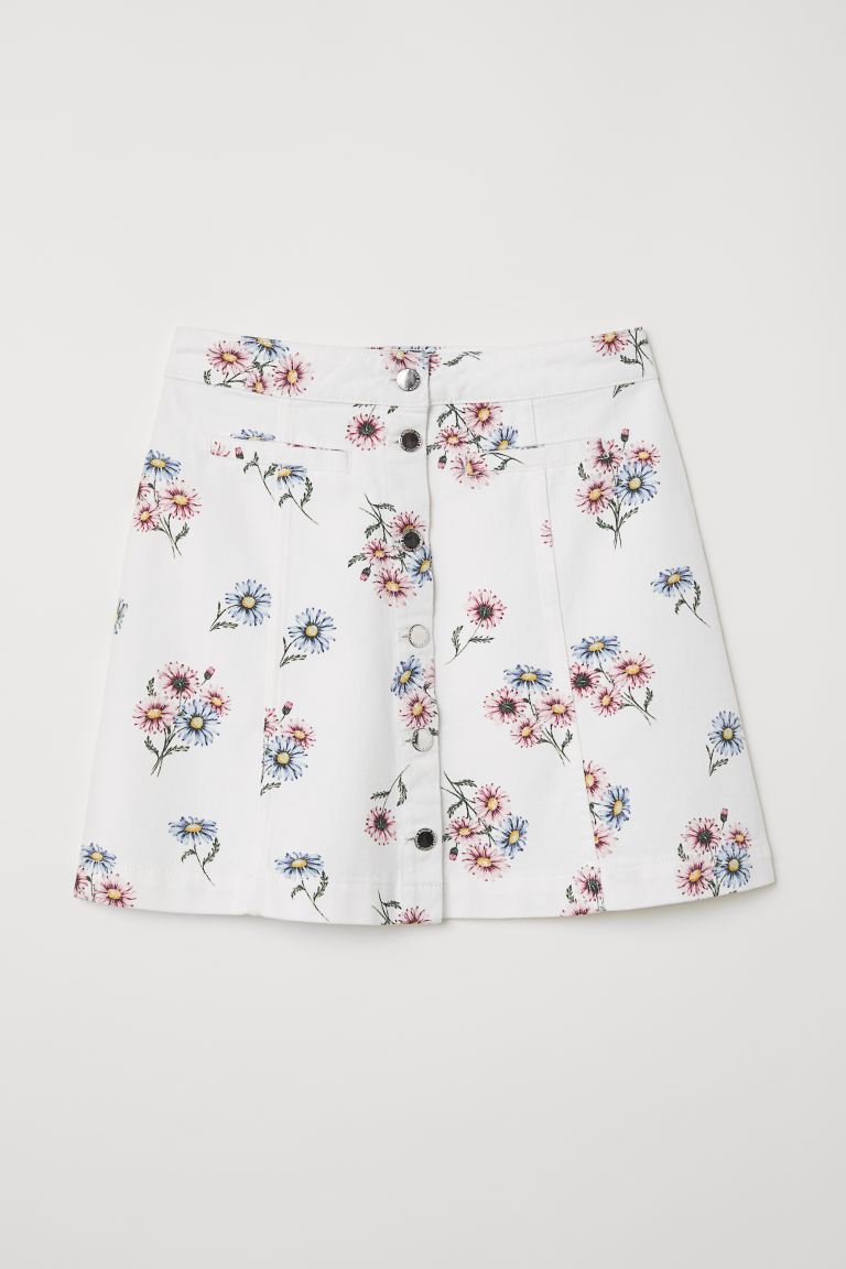 A-line Skirt - White/floral - Ladies | H&M US