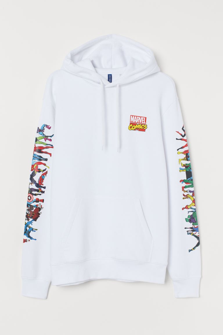 Printed hooded top - White/Marvel - Men | H&M IN